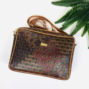 Escada Vintage Printed Leather Satchel Laptop Bag
